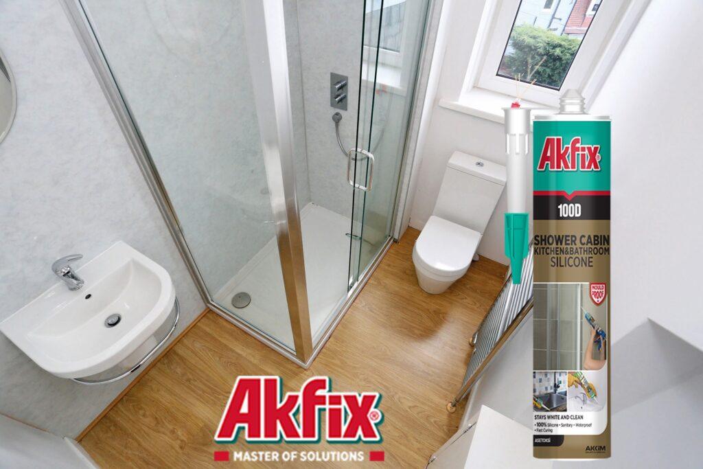 کاربرد درزگیر سیلیکون اسیدی آشپزخانه و حمام آکفیکس Akfix 100D
