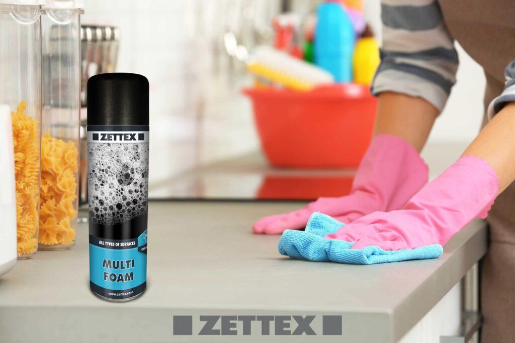 عکس و کاربرد اسپری پاک کننده زتکس Zettex Multifoam